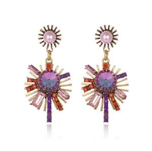 Bohemian Iridescent Sunburst Statement Earrings